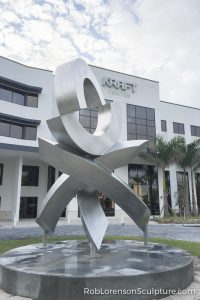 stainless steel large-scale abstract public landscape sculpture