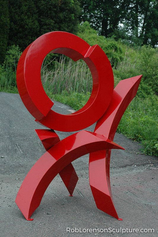 red abstract outdoor metal sculpture