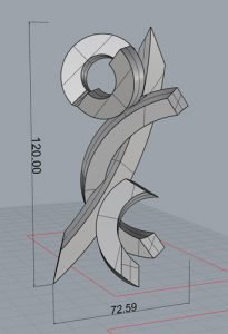 3d cad drawing fo a metal sculpture