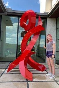 red metal sculpture