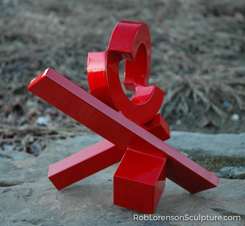 red abstract outdoor metal sculpture